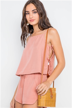 Blush Side-Tie Crop Top Short Set