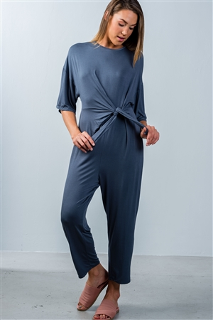 Washed Navy Knot Front Short Sleeve Casual Jumpsuit