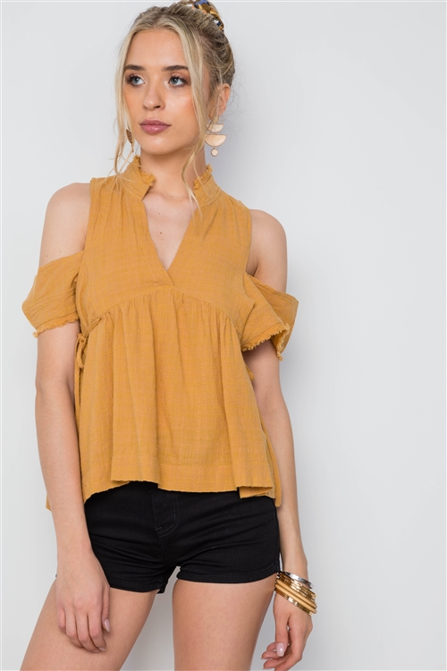 Honey Shirred Cut Out Frayed Side Tie Boho Top