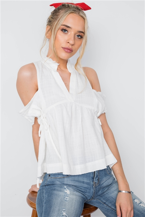 Off White Shirred Cut Out Frayed Boho Top