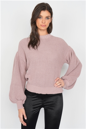 Creamy Rose Puff Belle Sleeve Knit Sweater