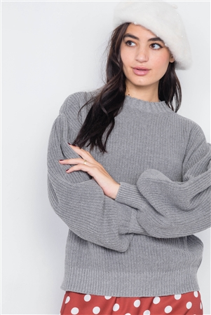 Heather Grey Puff Belle Sleeve Knit Sweater
