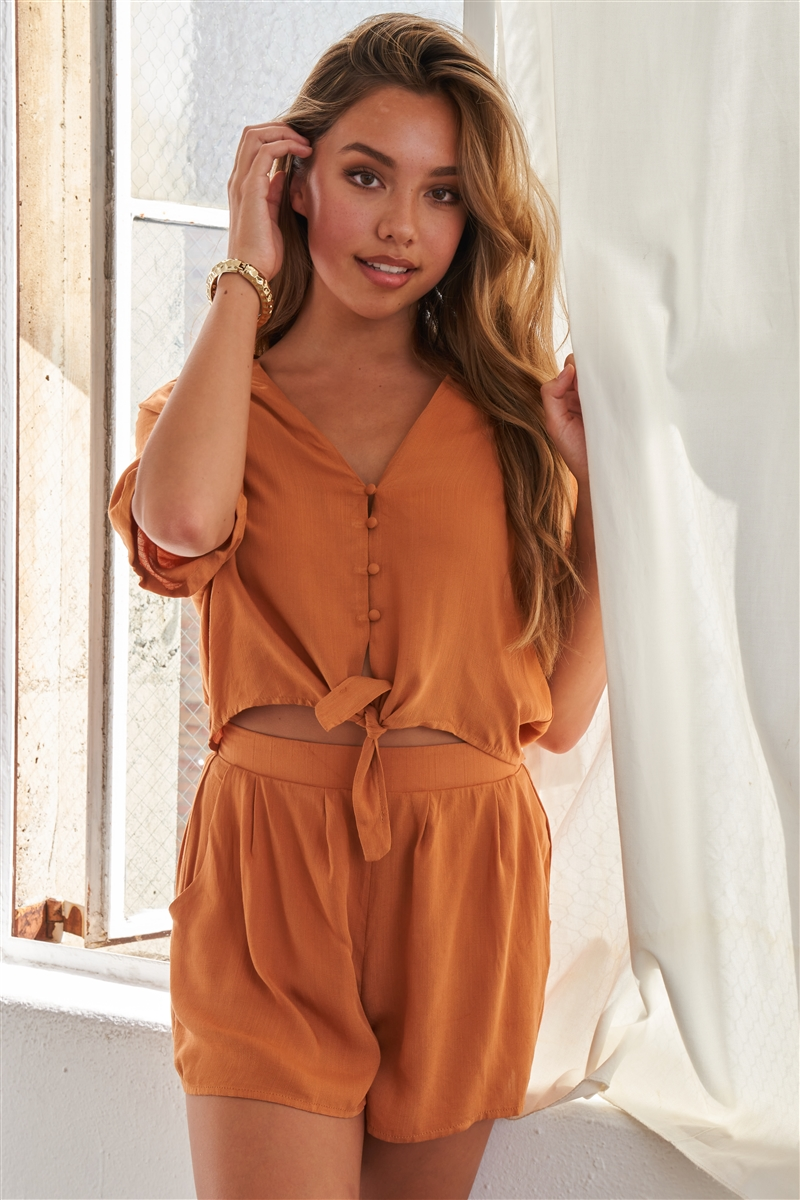 Caramel Relaxed Fit Front Tie Short Sleeve Romper