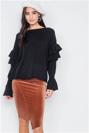 Black Raw Scoop Neck Tiered Frill Cinched Bell Sleeve Sweater