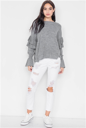 Heather Grey Raw Scoop Neck Tiered Frill Cinched Bell Sleeve Sweater