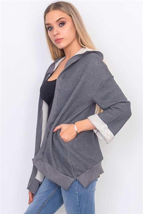 Charcoal French Terry Hoodie Cardigan