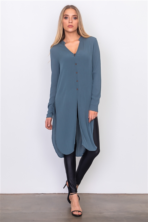 Teal Side Split Front Button Down Long Shirt