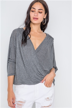 Front Knot Twist Drape Asymmetric Grey Top