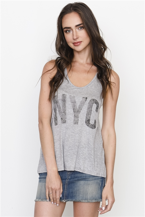 Grey Graphic Front NYC Racer Back Tank Top