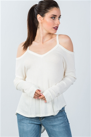 Ivory High Low Cold Shoulder Top