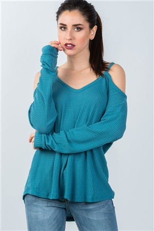 Teal High Low Cold Shoulder Top