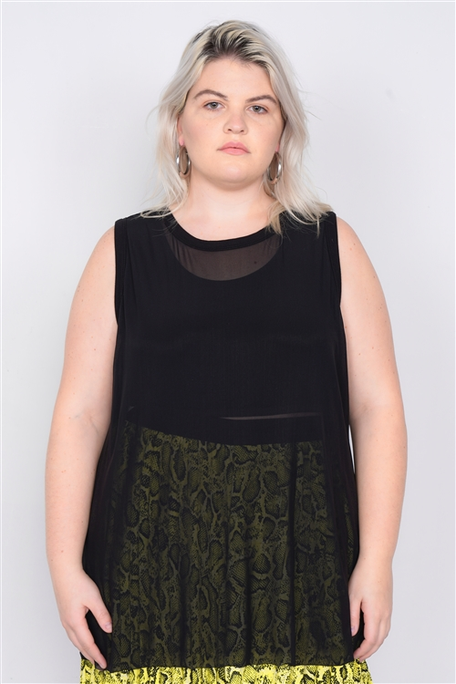 Black Plus Size Mesh Tank Top