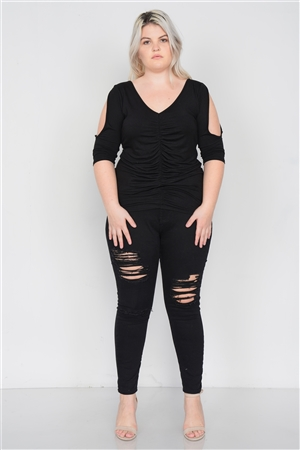 Black Plus Size Slit Sleeve Ruched Front Top /2-2-2