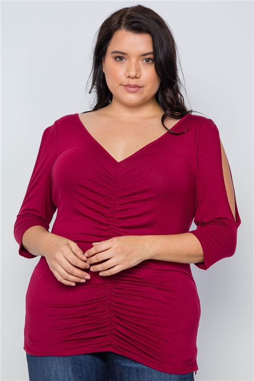 Burgundy Plus Size Slit Sleeve Ruched Front Top