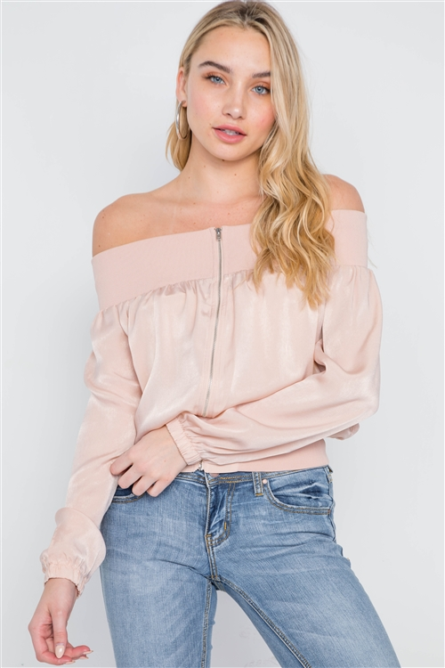Blush Off-The-Shoulder Light Zip-Up Bomber Jacket