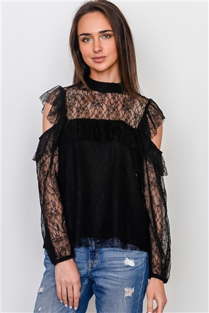 Boho Black Mesh Frill Cold Shoulder Top