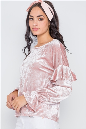 Blush Crushed Velvet Long Ruffle Sleeve Sweater