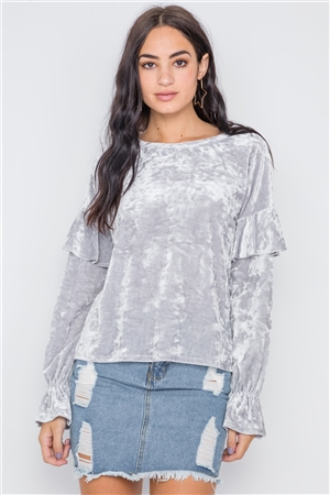 Silver Crushed Velvet Long Ruffle Sleeve Sweater