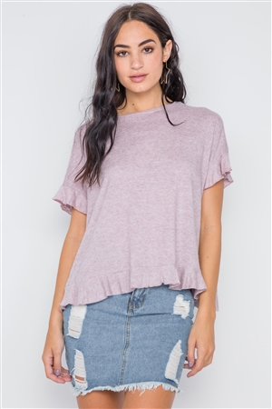 Lavender Short Sleeve Surplice Back Ruffle Knit Top