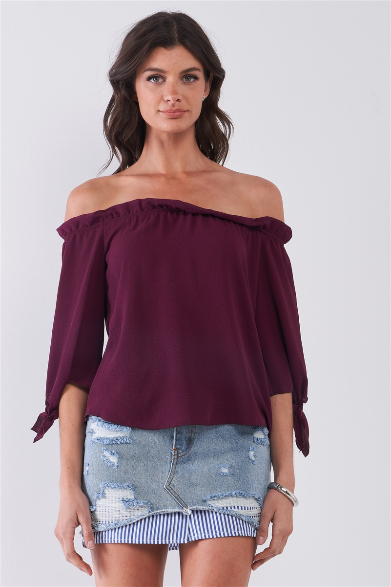 Wine Off-The-Shoulder Midi Sleeve With Self-Tie Detail Top /2-2-2