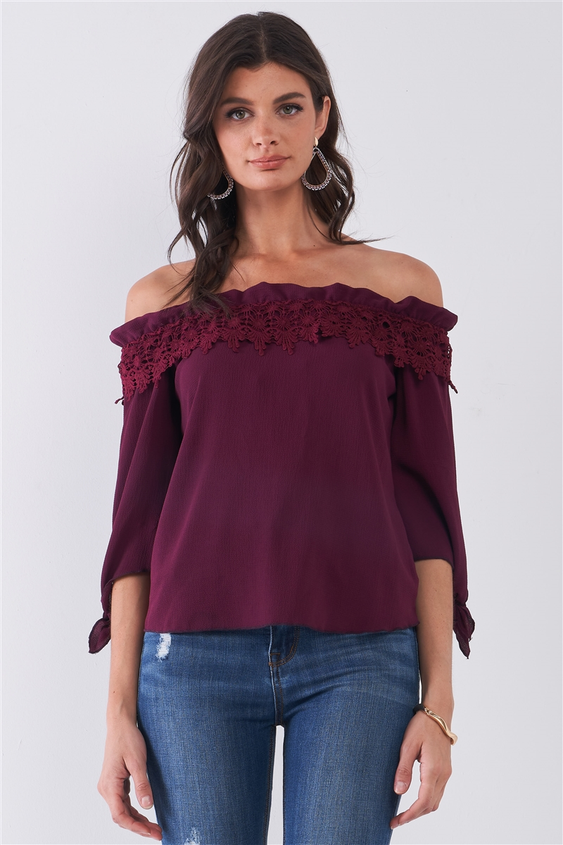 Wine Off-The-Shoulder Embroidery Trim Midi Sleeve With Self-Tie Detail Top /2-2-2