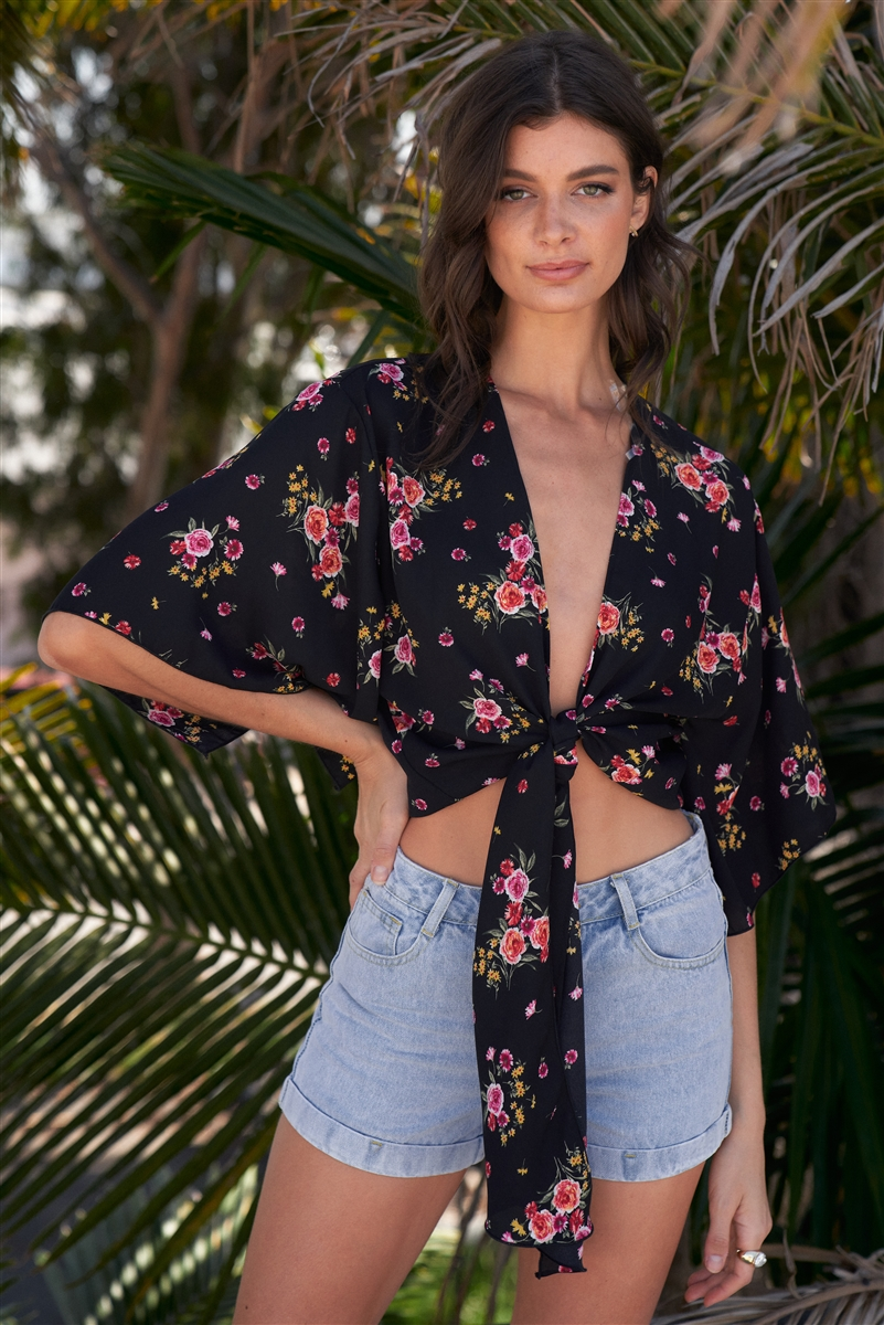 Black Floral Print Plunge Neck Self-Tie Front Wide Sleeve With Slit Cropped Top