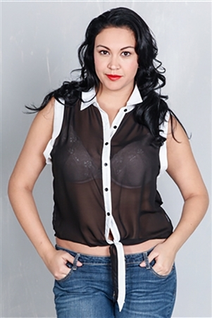Classic collar sheer Black & White sheer buttoned sleeveless top