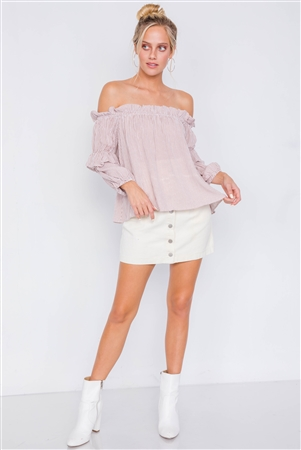 Mauve & White Stripe Off-The-Shoulder Layered Ruffle Trim Top