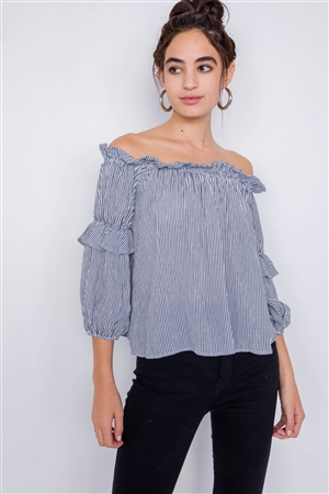 Navy & White Stripe Off-The-Shoulder Layered Ruffle Trim Top