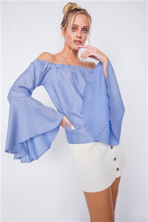 Sky Off-The-Shoulder Belle Sleeve Chic Tencel Top