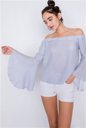 White Blue Off-The-Shoulder Belle Sleeve Chic Tencel Top