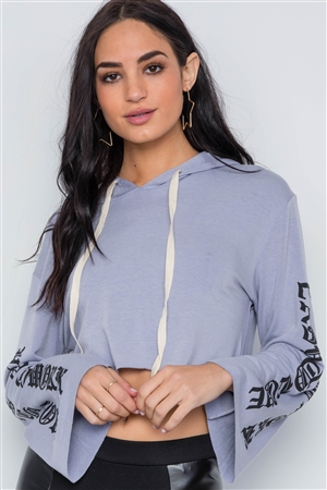 Lavender Graphic Print Long Sleeves Hooded Crop Top