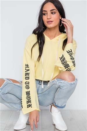 Yellow Graphic Print Long Sleeves Hooded Crop Top