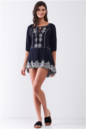 Navy & White Knit Embroidery Detail Self-Tie Front Round Neckline Balloon Sleeve Asymmetrical Tunic Top /2-2