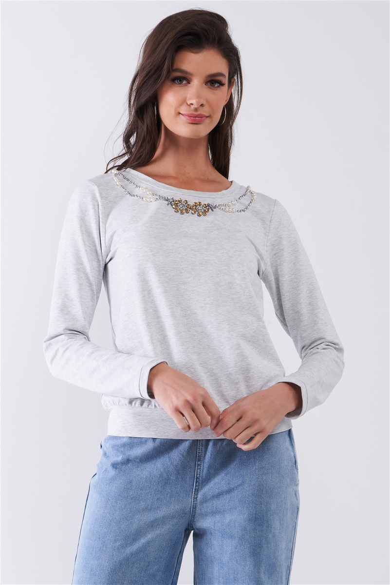 Heather Grey Long Sleeve Pearl & Gem Embroidery Detail Round Neck Top /1-2-2