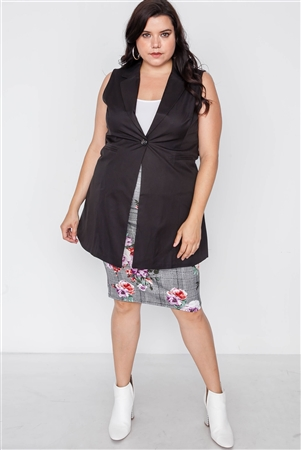 Plus Size Black Sleeveless Single Breasted Vest