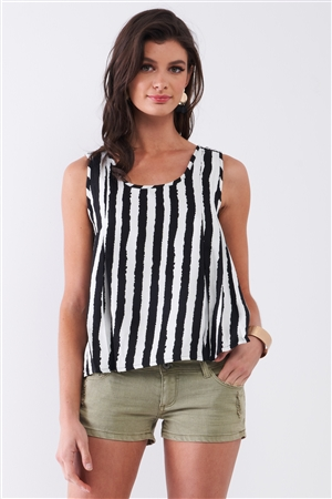 Black & White Striped Sleeveless Knit Crochet Back Trim Pleated Detail Top /1-2-2-1