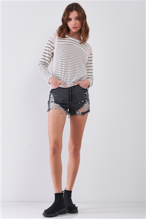 Ivory & Black Striped Long Sleeve Sheer Mesh Cut-Ins Detail Relaxed Top /1-3