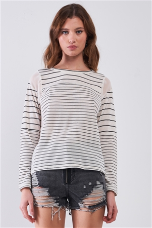 Ivory & Black Striped Long Sleeve Sheer Mesh Cut-Ins Detail Relaxed Top /1-2-2-1