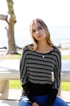 Black Striped Glitter Weave Crochet Trim Detail Long Sleeve Sweater Top /1-1-2-1