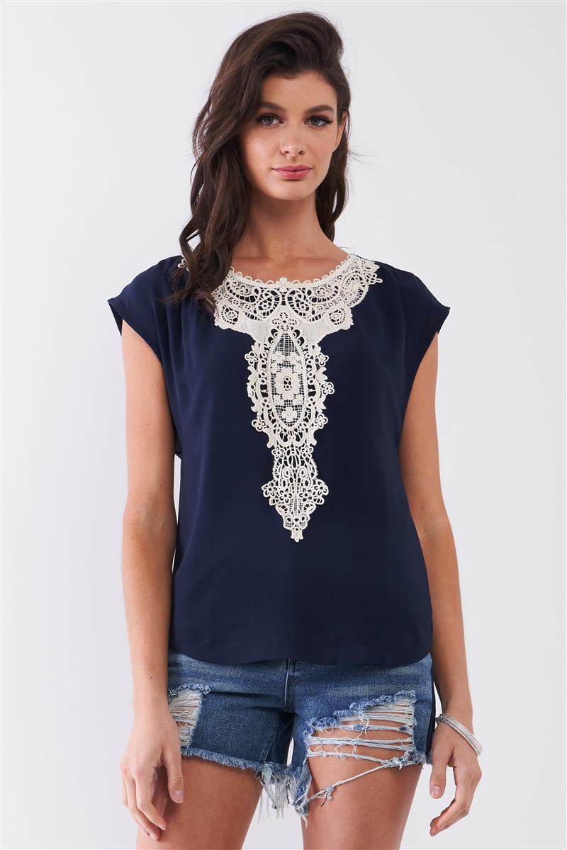 Navy & Cream Crochet Embroidery Front Trim Sleeveless Round Neck Smock Back Detail Relaxed Top /1-2-2-1
