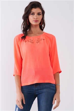 Neon-Coral Front Crochet Embroidery Round Neck 3/4 Sleeve Relaxed Fit Top /1-1-2-1