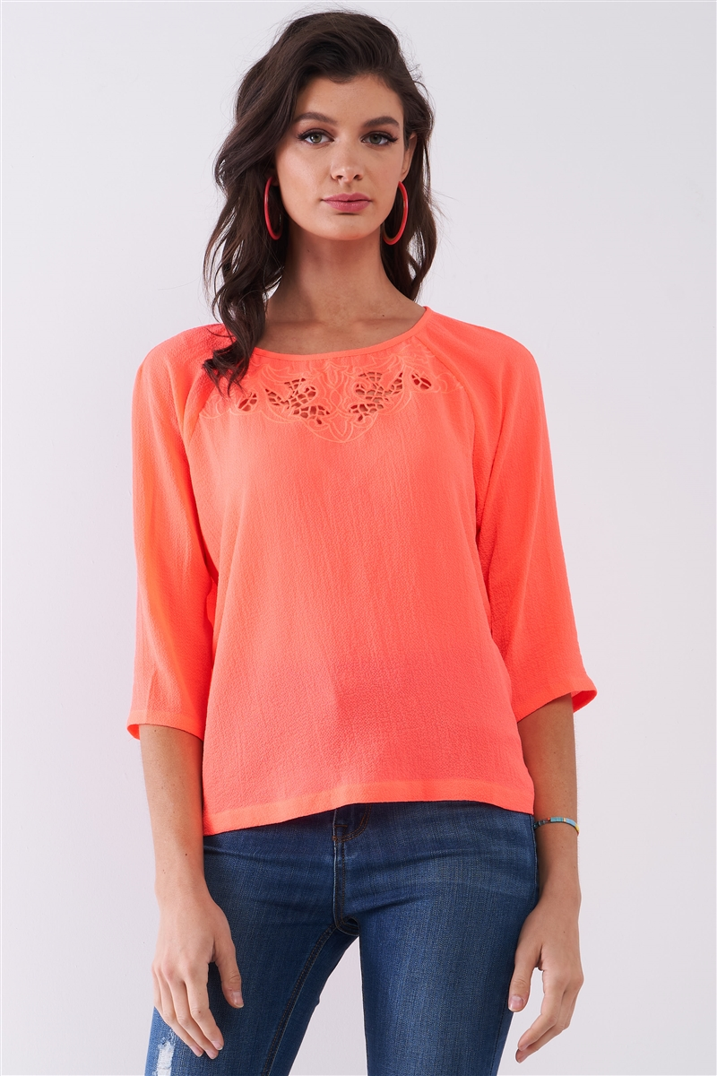 Neon-Coral Front Crochet Embroidery Round Neck 3/4 Sleeve Relaxed Fit Top /1-2-2-1