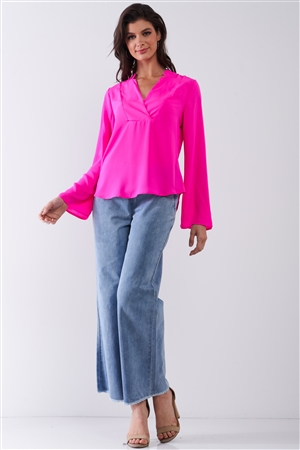 Neon Pink Mock-Blazer Collar V-Neck Detail Long Trumpet Sleeve Relaxed Blouse Top /1-2-1