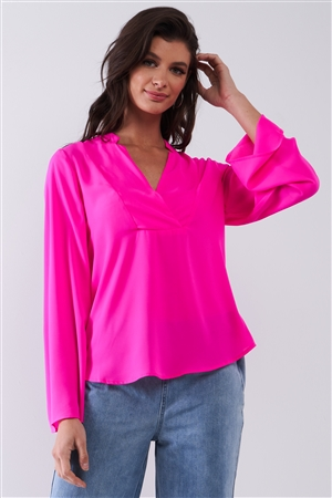 Neon Pink Mock-Blazer Collar V-Neck Detail Long Trumpet Sleeve Relaxed Blouse Top /1-2-2-1