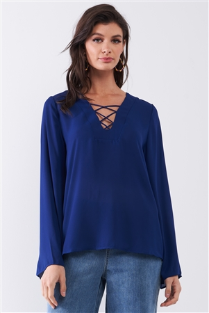 Deep Blue Long Sleeve Lace-Up Front V-Neck Detail Relaxed Blouse Top /1-1-2