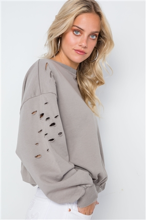 Elephant Skin Grey Distressed Long Sleeve Sweater