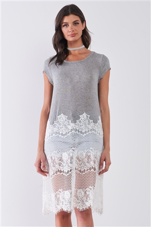 Heather Grey & White Sheer Crochet Mesh Combo Raw Hem Detail Tunic Midi Dress /1-2-2-1