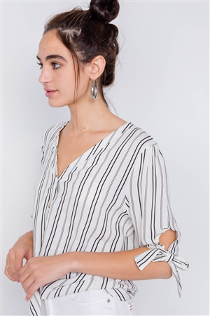 Black & White Stripe 3/4 Sleeve Tie Cuff Office Chic Blouse