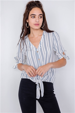 Navy & White Stripe 3/4 Sleeve Tie Cuff Office Chic Blouse